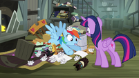 Rainbow Dash pops out of junk S4E04