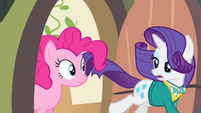 Pinkie Pie sees Rarity running S4E14