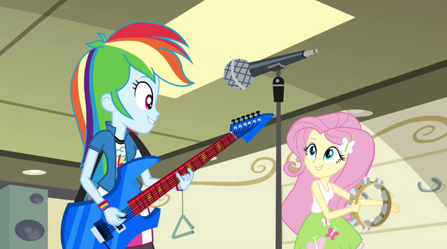 File:Rainbow and Fluttershy start singing Better Than Ever EG2.png