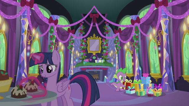 File:Twilight and Spike in the decorated castle S5E20.png