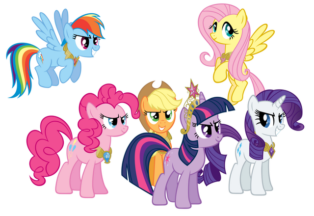 File:FANMADE Mane Six wearing Elements of Harmony.png