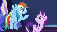Rainbow Dash shrugging to Starlight S6E1