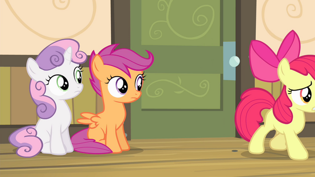 File:Sweetie and Scootaloo sees Apple Bloom walking S4E17.png