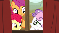 Apple Bloom and Scootaloo nudging Sweetie Belle S5E6