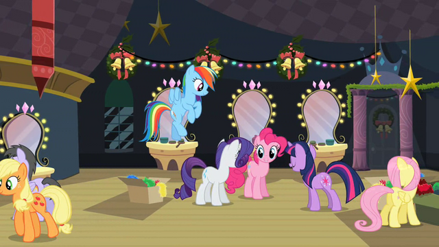File:Twilight talking to Rainbow, Rarity and Pinkie backstage after play S2E11.png