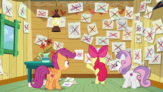 File:CMC with papers showing what they could do crossed out S6E4.png