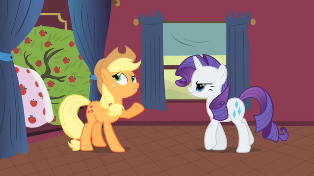 File:Applejack talking to Rarity about Bloomberg S01E21.png