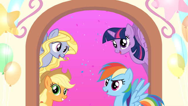 File:MLP Friendship Celebration app - Lily Blossom, AJ, Twilight, and Rainbow.png