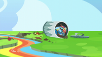 Rainbow Dash lying in a trashcan S6E7