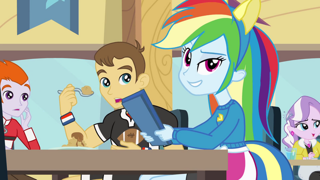 File:Rainbow Dash slamming her tray EG.png