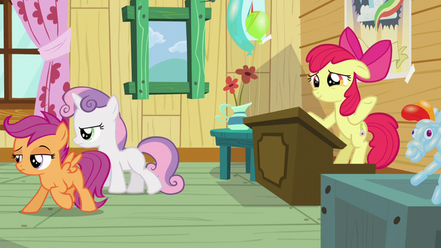 File:Scootaloo and Sweetie turn their backs to Apple Bloom S5E4.png