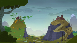 Twilight and Fluttershy hovering between two hills S5E23.png