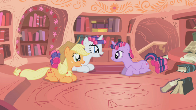 File:Twilight sitting with smiling Rarity and Applejack S1E8.png