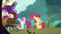 Apple Bloom and Sweetie Belle looking S3E06