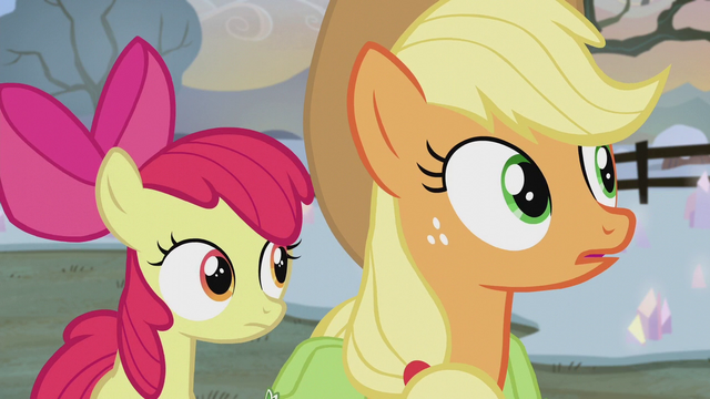 File:Applejack and Apple Bloom hear Pinkie whistle S5E20.png
