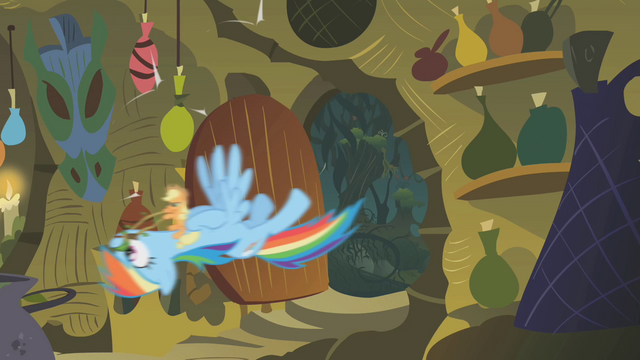 File:Applejack and Rainbow storm the hut S1E09.png