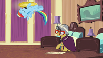 Rainbow Dash flips through the air S6E13