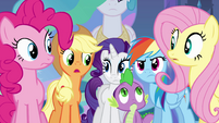 Twilight's friends and Spike looking concerned EG