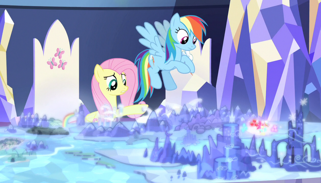 """File:Fluttershy """"why are our cutie marks over there?"""" S5E01.png"""