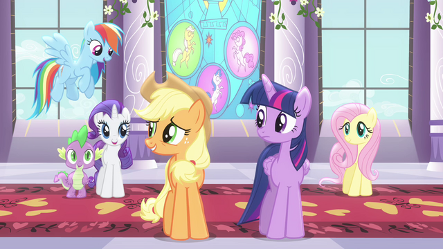 File:Applejack talking to friends S4E01.png