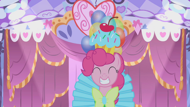 File:Pinkie Pie walks forward in her hideous dress S1E14.png