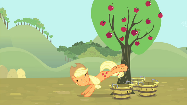 File:Applejack bucking apples S4E13.png