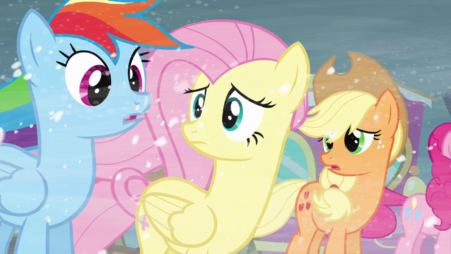 File:Rainbow, Fluttershy and Applejack concerned S3E1.png