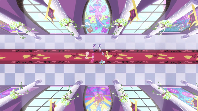 File:View of the ponies looking at stained glass portrait of Twilight S4E01.png