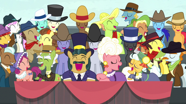 File:Spectator ponies laughing harder than ever S5E6.png