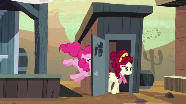 File:Cherry Jubilee comes out of bathroom; door accidentally hits Pinkie S5E11.png