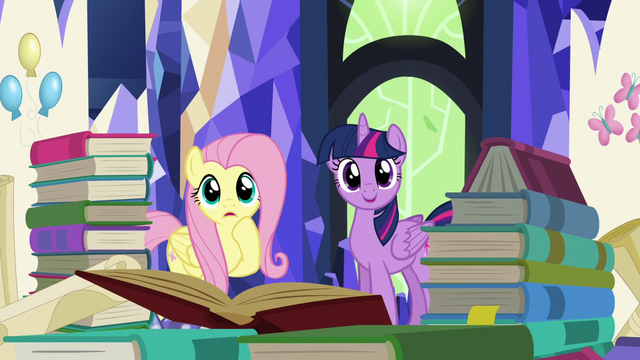 File:Twilight and Fluttershy surrounded by books S5E23.png