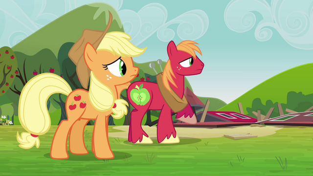 File:Applejack and Big Mac watch the clones leave S3E03.png