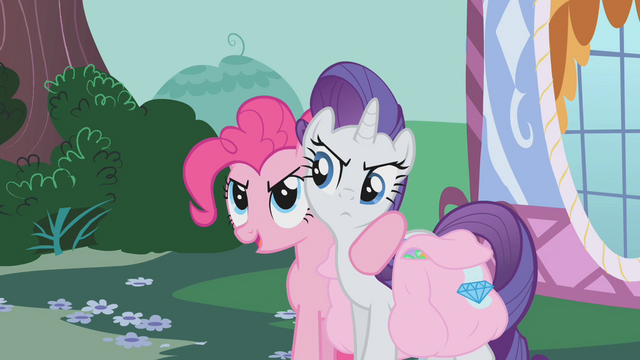"File:Pinkie and Rarity ""if we split the list between us"" S1E10.png"