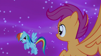 Rainbow gives Scootaloo a look of approval S5E13