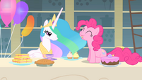 Pinkie Pie munching on a cupcake S1E22