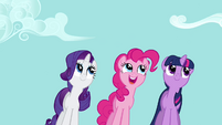 Rarity, Pinkie and Twilight staring and swaying S2E16