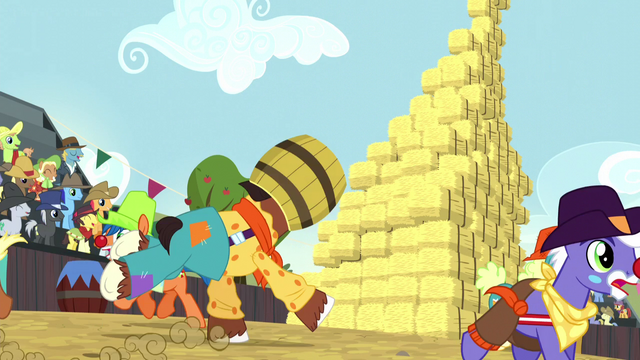 File:Trouble Shoes about to crash into hay bale stack S5E6.png