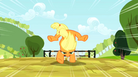 Applejack jumping over hurdle S2E14