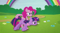 Pinkie Pie using Twilight as a weapon BFHHS3