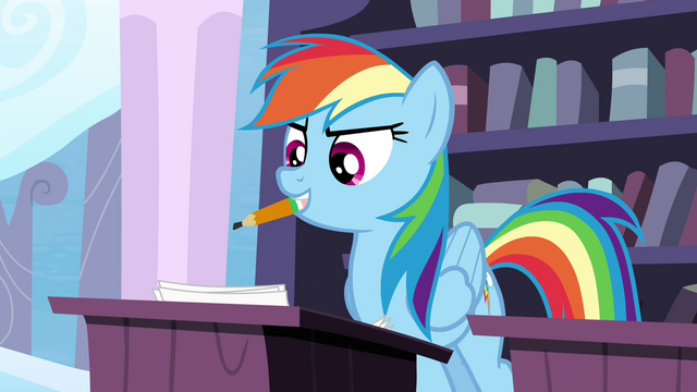 File:Rainbow with a pencil in her mouth S4E21.png