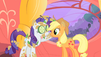 Rarity touching Applejack's face S1E08