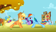 Applejack and Rainbow Dash doing push ups S1E13.png