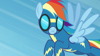 Rainbow Dash looking down at Spitfire S6E7