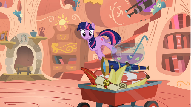 File:Twilight looking at items on the wagon S1E24.png