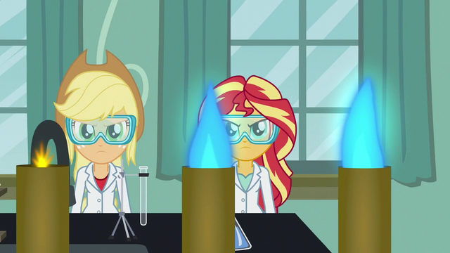 File:Applejack and Sunset in goggles and lab coats EG3.png