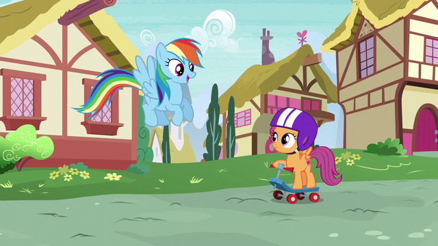 File:Rainbow Dash greeting Scootaloo S6E7.png