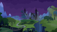 Castle of the Two Sisters at nighttime S4E03