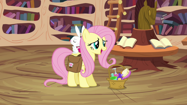 File:Fluttershy arrives with Angel S03E11.png