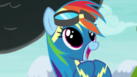 Rainbow Dash in wide-eyed excitement S6E7