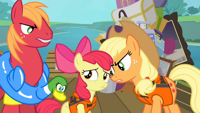 File:Big McIntosh and Applejack angry at Apple Bloom S4E09.png